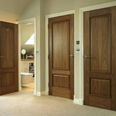 Classic two panelled walnut internal doors – pure luxury. JB Kind's Royale B… Classic two panelled walnut internal doors – pure luxury. Wooden Door Design, Wood Interior Design, Interior Barn Doors, Modern Interior Design, Luxury Interior, Walnut Doors, Oak Doors, Panel Doors, Bedroom Door Design