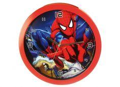 SPIDERMAN OROLOGIO MURO SALTO 30CM  Orologio muro in plastica con rifiniture rosse con disegno all'interno di Spiderman mentre salta regolabile da dietro, funziona con una batteria di tipo AA non inclusa