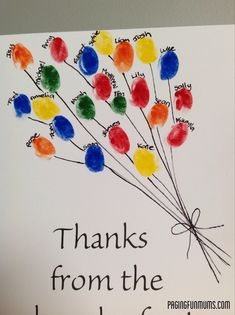 This is a fun and easy card to make for Teacher Appreciation Week from the whole class. All we did was print the 'Thanks from the bunch of us' on white cardstock, got each child to stamp their thumbprint using texters (water based), wrote each child's name above their print and drew on some string....Read More »