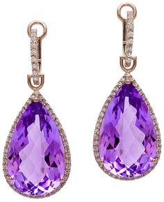 Diamond Earrings, .38 Carat Diamonds 16.65 Carat Amethyst on 14K Rose Gold