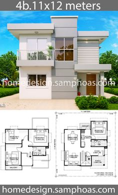 House Design Plans with 4 bedrooms Interior House Design bedrooms design house Plans Small House Floor Plans, Duplex House Plans, Home Design Floor Plans, Bungalow House Plans, Bedroom House Plans, Dream Home Design, Dream House Plans, Modern House Plans, Simple House Design