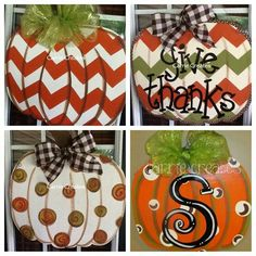 "Pumpkin Chevron Door Hanger, using burlap I painted it similar to the one on the far left. I added a ""G"" painted monogram and it is a little different but this is where I got the general shape and chevron idea from! Made it for my in laws. Wooden Pumpkins, Fall Pumpkins, Painted Pumpkins, Fall Crafts, Holiday Crafts, Diy Crafts, Fall Halloween, Halloween Crafts, Halloween 2018"