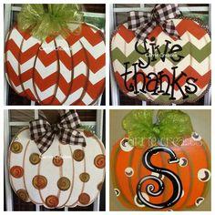Pumpkin Chevron Door Hanger