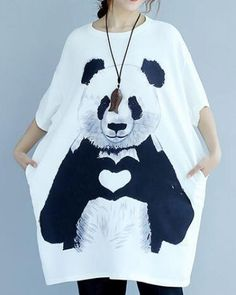 Heart panda t shirt dress white oversize t shirts long style for young women