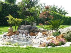 beau aménagement pour jardin de rocaille avec palmier