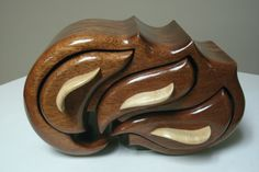 "Sculptured Sapele Bandsaw Box.  6""H x 10""W x 5""D."