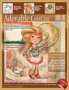 Adorable Cowgirl - Digital Stamp - The Paper Shelter