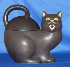 Black Cat and Halloween Cookie Jars : Dept 56 Black Cat Cookie Jar 1999/2000