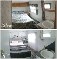 Best and Low Cost Small RV Remodel Ideas dexorate 4021 Home Renovation, Camper Renovation, Home Remodeling, Bedroom Remodeling, Cheap Renovations, Camper Remodeling, Interior Trailer, Camper Interior, Trailer Decor