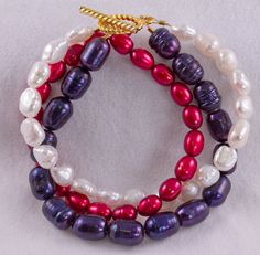 Red White and Blue Freshwater Pearl by CatherineTreasureBox, $47.95
