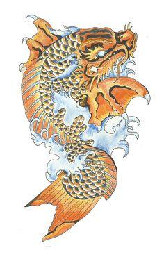 koi fish dragon tattoo design on behance tatoo carp dragon - koi fish dragon drawing Koi Fish Drawing, Koi Fish Tattoo, Fish Tattoos, Carp Tattoo, Leg Tattoos, Dragon Tattoo Drawing, Dragon Thigh Tattoo, Tattoo Forearm, Pixel Tattoo