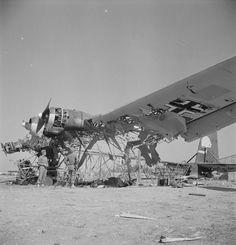 A wrecked German Messerschmitt Me 323D-1/-2 Gigant transport at El Aouiana airport Tunis Tunisia in May 1943 [4138  4306] x-post /r/HI_Res