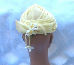 1960's Vintage Lilly Dache Yellow Turban Hat with Dangling Flowers