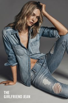 The Express Jeans distressed Girlfriend fit is so perfect for pulling off the denim on denim trend, seen here on Karlie Kloss. Its laidback fit echoes jeans' classic, casual vibes. Wanna make it sexy? Add heels. However you style it, Express has your new favorite Girlfriend.