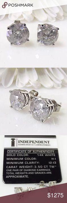 3.5 carat 14k white gold diamond stud earrings 3.5 carat 14k white gold diamond stud earrings! Come with card of authenticity! Jewelry Earrings