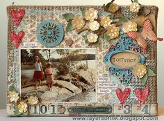 A Fabulous Burlap Panel Created by Anna-Karin for the Monday challenge Ode To Sunshine at Simon Says Stamp. July 2013