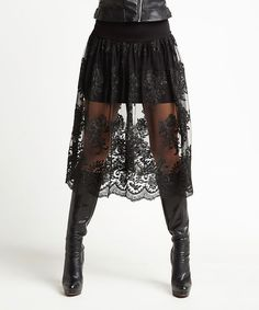 Look what I found on #zulily! Laranor Black Lace Overlay Skirt by Laranor #zulilyfinds