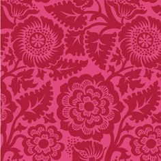 Blockprint Blockade Blossom in Crimson JD48  by MoonaFabrics