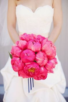 Hot pink peonies and navy + white stripe ribbon - oh my gorgeous