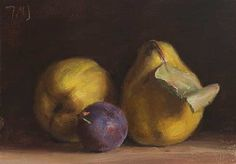 daily painting titled Quinces and plum - click for enlargement
