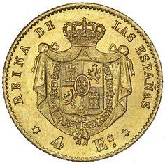 Isabella 1867 gold coin. Reina de las Espanas.