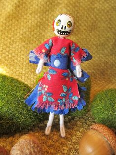 Miniature Holiday Skeleton Doll by FreshProduceDesigns on Etsy