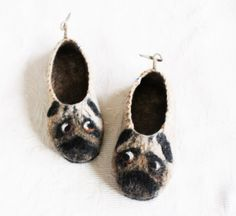 PUG Felted Wool Slippers Handmade slippers from Norwegian sheep wool with soles Pugs slippers Beige Pug Art Dog lover gift Pug gift Felted Slippers, Handmade Felt, Sheep Wool, Wool Felt, Fiber Art, Pugs, Baby Shoes, Cleaning, Pug