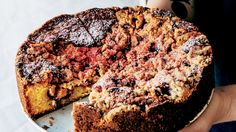 Equal parts fruit crumble and coffee cake, this not-too-sweet dessert starts out bright pink but bakes to a toasty golden brown.