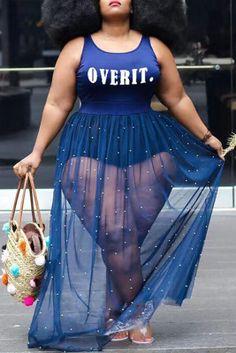 Blue Sexy Letter Pearl Mesh Spaghetti Strap Lantern Skirt Plus Size Dresses Plus Size Blouses, Plus Size Dresses, Plus Size Outfits, Women's Dresses, Yellow Fashion, Colorful Fashion, Curvy Women Fashion, Plus Size Fashion, Girl Fashion