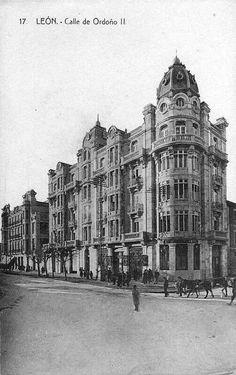 León, fotos antiguas, avda de Ordoño ll, 1930-40
