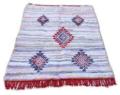 "81""X59"" Moroccan rug handwoven from scraps of fabric / boucherouite / boucherouette / kilim rug / beni ourain / moroccan wedding blanket"