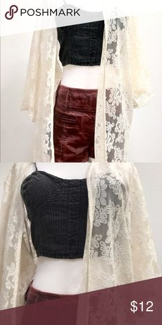 Cream lace short duster size m/l Very cute brand new only wore once. M/L so cute style with leather shorts or denim shorties and a crop top. Forever 21 Jackets & Coats