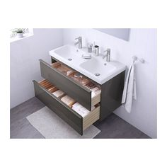 GODMORGON / ODENSVIK Sink cabinet with 2 drawers - high gloss gray - IKEA