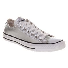Silver converse Only worn a few times -pair looks pretty new! Men's size 6.5 women's 8.5. Chuck Taylor all star metallic. Low tops. Chucks. Converse Shoes Sneakers