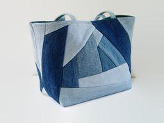 Jean Tote Bag Denim Crazy Quilt Purse Blue by SuzqDunaginDesigns