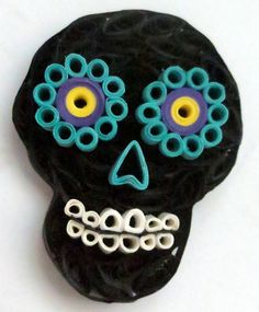 Day of the Dead Skull Pendant by HoneysHive on Etsy