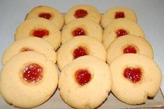 Jam Drops - This is my favourite recipe for these classic biscuits and the addition of custard powder gives them a lovely flavour. Custard Cookies, Biscuit Cookies, Biscuit Recipe, Custard Biscuits, Baking Recipes, Cookie Recipes, Dessert Recipes, Desserts, Frugal Recipes