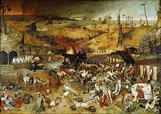 Pieter Brueghel the Elder, The Triumph of Death (c. 1562) in the Museo del Prado, Madrid. Brueghel was strongly influenced by the style of Hieronymus Bosch.