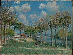 """The Seine at Bougival, Alfred Sisley (British, 1839–1899), 1876. The Metropolitan Museum of Art, New York. Partial and Promised Gift of Mr. and Mrs. Douglas Dillon, 1992 (1992.103.4)   Sisley's painting captures the bucolic aspect of Bougival, a resort town along the Seine just west of Paris known for its quiet beauty. As one writer noted, """"The trees form the most agreeable pattern… one can walk on lawns fresh and gentle to the feel, veritable carpets of greenery."""" #paris"""
