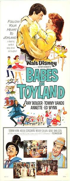 """Movie Poster for the Walt Disney film musical """"Babes in Toyland"""" (1961), starring Annette Funicello, Tommy Sands, and Tommy Kirk."""