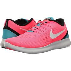 Nike Free RN (Racer Pink/Off-White/Chlorine Blue/Black) Women's... ($80) ❤ liked on Polyvore featuring shoes, athletic shoes, pink, breathable running shoes, light weight running shoes, blue running shoes, lace up shoes and lightweight running shoes