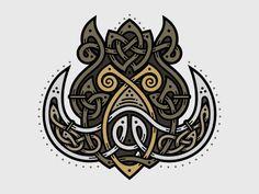 Celtic Wild Boar - project for fun / sale of the mini-series muzzle animals woven Celtic knot Wild Boar Hunting, Hunting Art, Celtic Tribal, Celtic Art, Celtic Dragon, Viking Designs, Celtic Knot Designs, Viking Art, Viking Runes