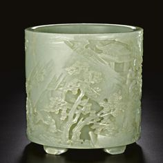 Celadon jade brushpot, Qing Dynasty, 18th century.
