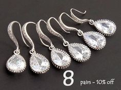 Will You Be My Bridesmaid Jewelry Set Of 8 10% Off Bridesmaid Gift Wedding Jewelry Set Dangle Teardrop Earrings