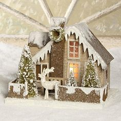 "Bethany Lowe 10"" Woodland Cottage and Deer Christmas Mantel House Bethany Lowe http://www.amazon.com/dp/B014E0KJWU/ref=cm_sw_r_pi_dp_KFPDwb1CRJRS9"