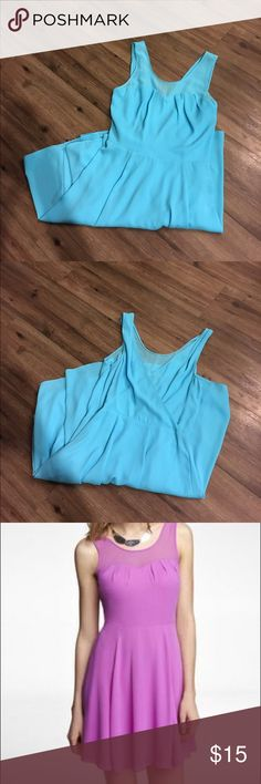Chiffon flare dress. Chiffon dress. In great condition. Worn once to graduation. Beautiful baby blue color. Express Dresses Midi