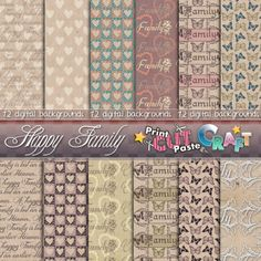 Happy Family Collection Digital paper 12 by PrintCutPasteCraft