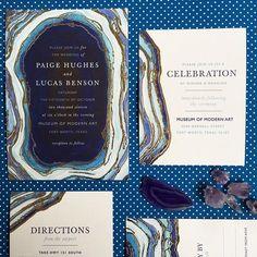 Blue agate wedding stationery