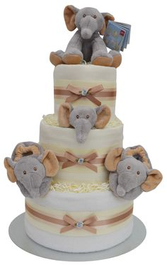 Beautiful Elephant Themed 3 Tier Luxury Nappy Cake from our Jungle Range - by Packaged to Perfection