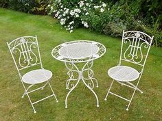 Antique aged #white wrought iron 3 piece bistro #style garden patio #furniture se,  View more on the LINK: http://www.zeppy.io/product/gb/2/321877459621/